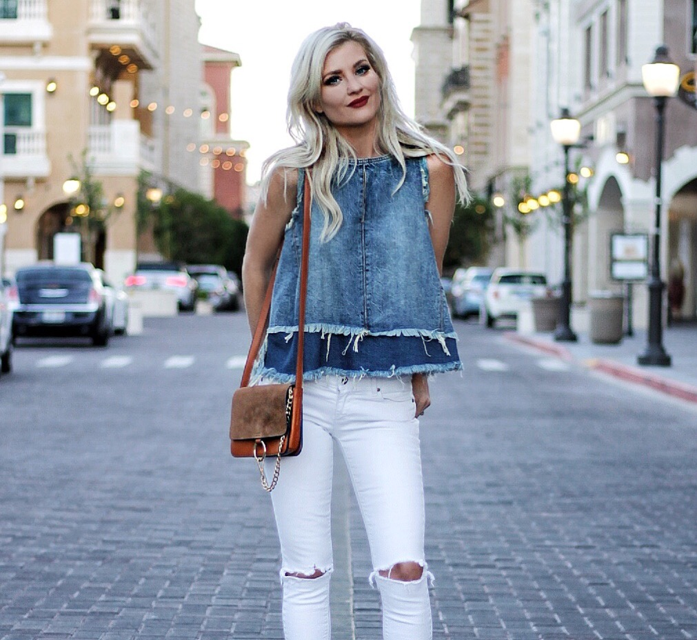 WHITE RIPPED JEANS & A DENIM TOP